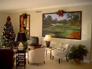 Christmas time at model home center in Naples, Florida
